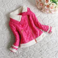 For 3-8Y 2014 New girls warm coat winter&autumn children jacket casual Oblique zipper outerwear clothing baby suit overcoat