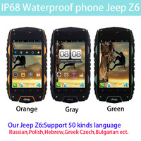 2014 cheap original IP68 rugged shockproof Waterproof phone Jeep Z6 MTK6572 Android 4.2 Smart phone Dual Core 2SIM Russian ZUG3
