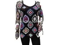 women blouse tops long sleeve crochet granny square caridigan sweater