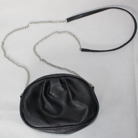 Free shipping New European fashion style PU message bag shoulder bags with chain black color for girl ladies  women