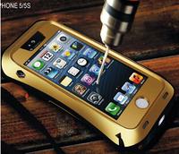 High impact Combo Armor Waterproof Dustproof Drop resistance Corning gorilla glass+Aluminum Metal cover case for iPhone 5 5s