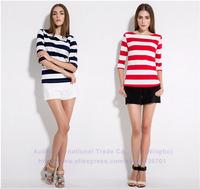 2014 brand new Women summer Top T-shirts cotton striped casual three quarter sleeve fashion retail 1pc S-XXL fresh in stock