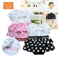 2014 NEW summer bebe romper baby  girl's sleepsuit outfits polka dot short sleeve romper infants wearing children clothing