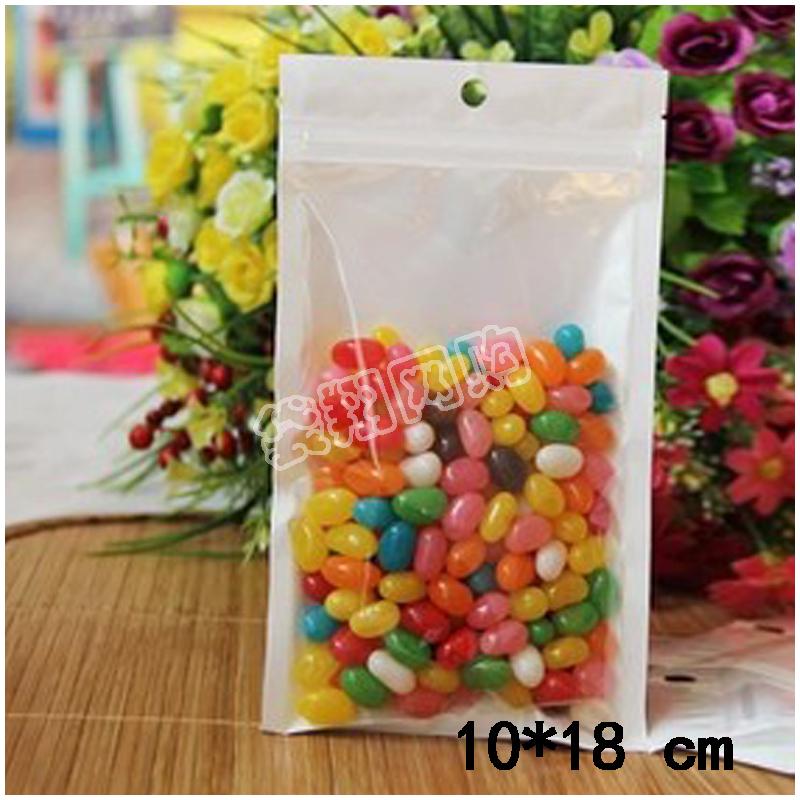 Clear+pearl bianco sacchetto di plastica per la caramella prodotti di