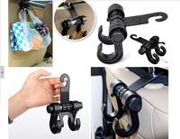 2pcs Car Seat Bag Hook Headrest Accessories Hanger Holder ABS + Stainless steel Fastener & Clip