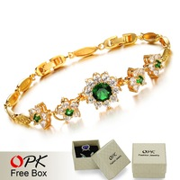OPK JEWELRY Hot Selling AAA Zircon Green  Noble Queen Bracelet Bangle 18K Gold Plated Exquisite Workmanship, 416