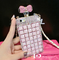 NEW Super Cute design pink bowknot hard case for iphone 5s Retail Fashion long rope big diamond for iphone 5 case Free shipping