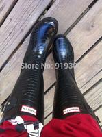 Brand New 2014 Fashion Black Pink Colors Crocodile Women Rain Boots Waterproof Knee High Flats Water Shoes Rainboots Wellies#TS8