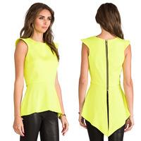 Women Blouses Asymmetrical Hem Dovetail Back Metal Zipper Sleeveless Slim Chiffon Shirt Blusa Camisa Casual Tank Tops Vest