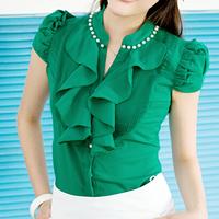 spring new 2014 stand collar ruffle beading puff short-sleeve shirt women slim formal ladies office blouse blue white green pink