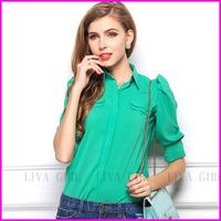 2014 Summer Casual Women Shirts Candy Color Sexy Slim Chiffon Long Sleeve Lady Shirt Tops Women Blouses Size S-XL Free Shipping