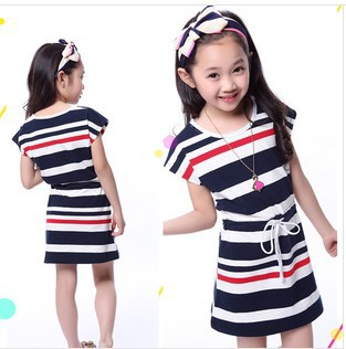 2014 new summer girls dress Children's navy style Sleeveless stripe dress kids dress(China (Mainland))