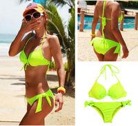 Sexy Girl Women's Green Bikini Push Up Padded Bra Swimsuit Bathing Suit Swimwear