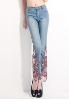 LUXRY!! New Fashion 2014 autumn elegant sexy Flower Embroidery capris Flare Pants jeans women ladies DROP Shipping Y101241