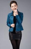5XL 2014 Genuine sheepskin leather outerwear spring and autumn women's short design jacket fashion slim small leather  jacket