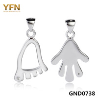 GND0738 New 2015 Fashion Cute Hand & Feet Charms Genuine 925 Sterling Silver Pendants For Lover Jewelry Valentine's Gift
