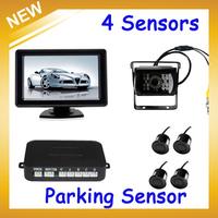 Car  LCD Parking Sensor Monitor Auto Reverse Backup Radar Detector System+4 Sensors +Waterproof  Camera Free Shipping Wholesale