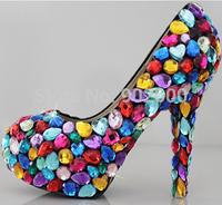 6/9/11cm Crystal wedding shoes rhinestone bridal high-heeled platform formal dress seven multicolour candy women's pumps 33-40