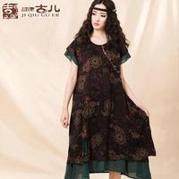 [LYNETTE'S CHINOISERIE - JIQIU ] 2014 Summer New Original Design Women Plus Size National Trend Vintage Print Loose Cotton Dress