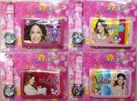 2014 new violetta frozen kids children girls boys wallet and watch sets quartz cartoon gift wrist purse watches 50pcs/lot