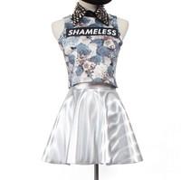 Top Hologram Silver Laser Skirt A Line skirt Bobbia HARAJUKU dubious zipper unif sparkling skirt super