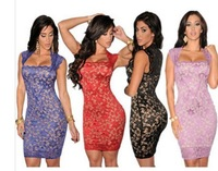 Free shipping + Lowest price 2014 New Sexy Royal-Blue Lace Nude Illusion Vintage Novelty Dress  LC21036