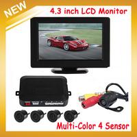 Auto Car Parking Sensor 4.3 Inch Digital TFT LCD Car  Monitor + 4 x Backup Sensors + 1 x Rearview Reverse Camera,Free Shipping
