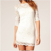 Brand New 2014 Spring Summer Desigual Lace Sexy Dress Women Fashion Bodycon Cocktail Novelty Party Dresses Vestidos Black White