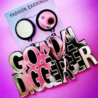 "Latest Super Big Letter ""GOAL DIGGER"" Fashion Earrings for Women Hip Hop Silver Gold Drop Earring Acrylic Mirror Pattern"