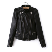 2014New spring jacket collar zipper dress fan motorcycle leather jacket and slim Europe, Haining leather jacket
