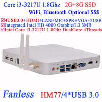 Fanless mini pcs i3 box with Intel Core i3 3217U 1.8Ghz 4 USB 3.0 HDMI VGA DirectX 11 support 2G RAM 8G SSD Windows or Linux