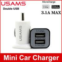 50pcs/lot wholesale Mini Dual USB Ports USAMS Car Charger Adaptor for iPhone 5s 5c ipad Samsung galaxy mobile Phone high qulaity