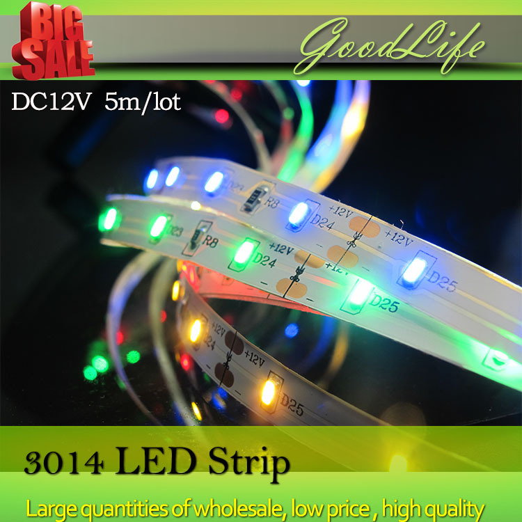 Sale LED Strip 3014 60LEDs/m,5m/lot,DC2V led strip flexible lighting White,Warm White,Red,Green,Blue color light, free shipping(China (Mainland))