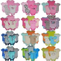 5pcs/lot chick pea carters Jumping Beans Baby clothing set Short Sleeve Baby Bodysuits Floral Baby Girls Shortalls Retail