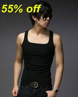 HOT! 2014 cheap Men vest summer casual brand men tank tops clothing L-XL 7color Free Shipping