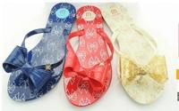Free Shipping Melissa Harmonic IV Bow Flip Flops sandals Ribbon bow Mel Flip-Flops Jelly Shoes Women flat Sandals