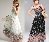 2014 New Fashion Women Ladies Bohemia  Beach Dress floral chiffon Summer  Dress Long Style Brace Floral Print Chiffon Maxi Dress