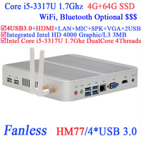 Wholesales mini pc vesa with Intel i5-3317U 1.7Ghz USB3.0 HDMI VGA DirectX 11 support 4G RAM 64G SSD Windows or Linux install