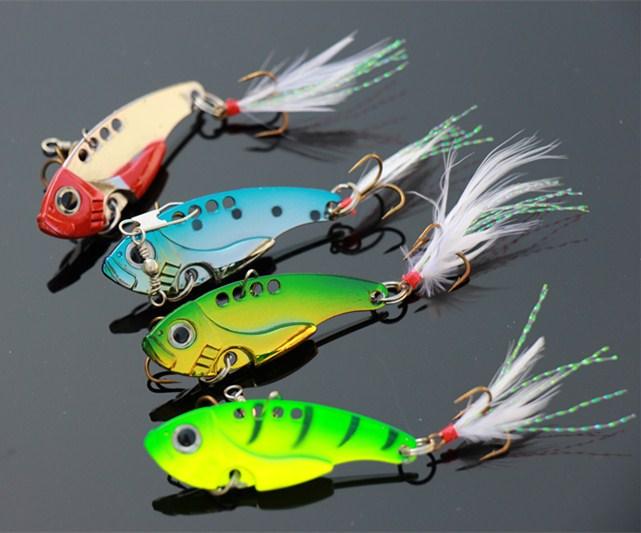 12G 5.5cm Metal VIB Fishing Lures Hard Fishing Tackle Bait 4 Colors 8pcs/Lot Free Shipping(China (Mainland))