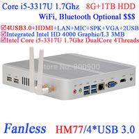 Cheapest i5 mini pcs with Intel i5 3317U 1.7Ghz USB 3.0 HDMI VGA DirectX 11 support 8G RAM 1TB HDD Windows or Linux