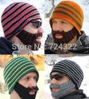 2014 new Novelty Handmade knitting Funny Beard Octopus knight Hat womens cap Crochet  Beanies party bike Mask Ski Free Shipping