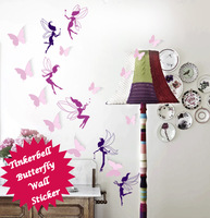 Funlife 135x120cm 53x47in Exclusive Fairy Tinker Bell Girl Bedroom Living Room Art Mural Wall Sticker BD1201
