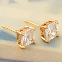 Wholesale Simple 18K Yellow Gold Plated Square CZ Women's Stud Earrings