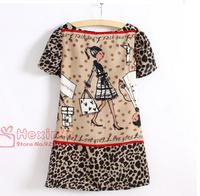 2014 New Fashion Women Clothing Character Girl Print Leopard Printed Chiffon Dress Short Sleeve O Neck Mini Dresses in Stock