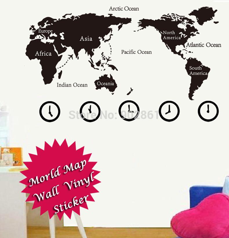 - 150 x 90 cm fuso horário World Map vinil estudo adesivo sala de estar Home Design decoração(China (Mainland))