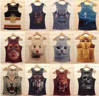 Loose Tank Top Women Leopard/ Skull / Wolf / Cat Tank Tops Cute Animal Print  Womens Tank Tops Fashion 2014