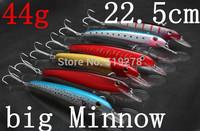 Lot  Colors Fishing Lures Crankbait  Minnow Hooks Crank Baits 44g  25.5cm Super big  original vmc hooks Minnow  Free Shipping