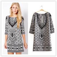 2014 women desigual dress/summer vintage flower print Bohemian dresses/hippie boho Paisley chiffon dress/vestidos feminino#C0782