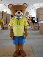 Yellow Teddy Bear Mascot Animal Costumes Cartoon Mascot Halloween Customized Mascot Outfit Adult Fancy Dress