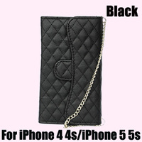 For iPhone 4 4s 5 5s case Luxury wallet case with card slot for iphone 5 5s 4 4s mobile phone bags with crystal cc logo